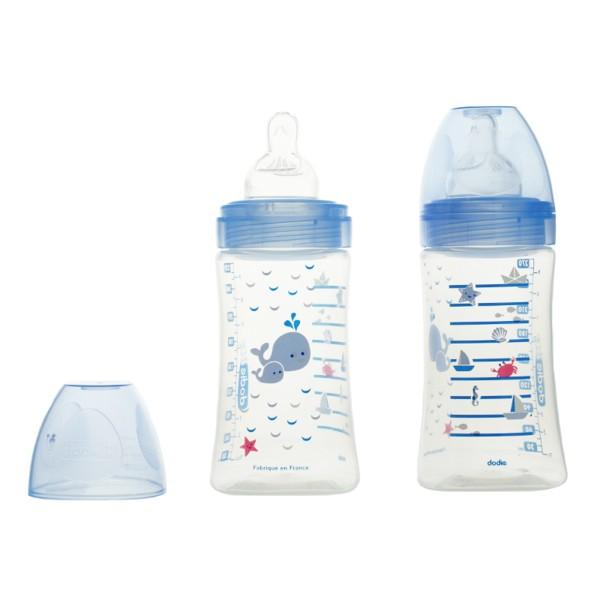 Dodie D/ébit 2 T/étine Plate 270 ml 0-6 mois Lot de 2 Biberons Anti-Colique Sensation+ Bleu Mer